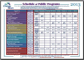 2013 Course Calendar - public clinics by The Change Forum